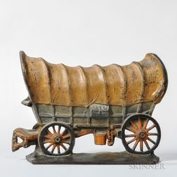 Cast Iron and Paint-decorated Creations Company Conestoga Wagon Doorstop
