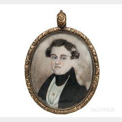 American School, Early 19th Century      Miniature Portrait of a Man in a Black Jacket