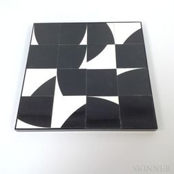 Black and White Acrylic Wall Hanging and a Bush of Life Three-piece Wood Sculpture.