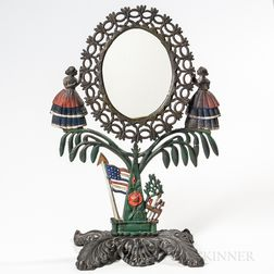 Paint-decorated Cast Iron Jenny Lind Mirror
