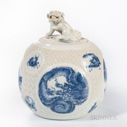 Hirado Blue and White Jar and Cover