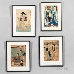 Four Ukiyo-e   Woodblock Prints