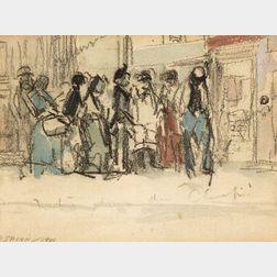 Everett Shinn (American, 1876-1953)  Waiting in a Queue