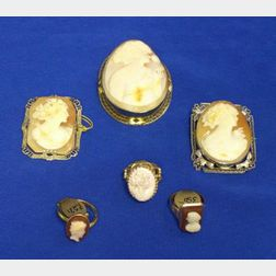 Group of 10kt, 12kt, and 14kt Gold Cameo Jewelry