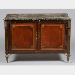 Louis XVI Brass-mounted Mahogany and Marble-top Side Cabinet