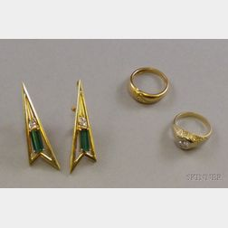 Pair 14kt Gold, Green Gemstone, and Diamond Earrings and Two 14kt Gold and Diamond   Rings