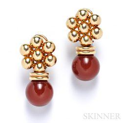14kt Gold and Carnelian Bead Earrings
