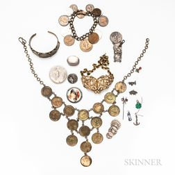 Group of Coin and Art Nouveau Jewelry