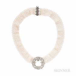 Diamond and Seed Pearl Necklace