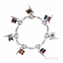 Platinum and Diamond Bracelet with Flag Charms