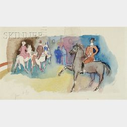 Jean Dufy  (French, 1888-1964)      Les Cavaliers