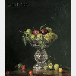 Joan Alex Potter (American, b. 1935)      Still Life with Fruit in Crystal Compote