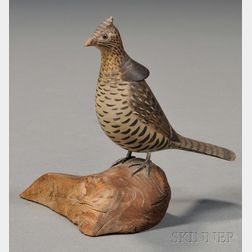 Miniature Carved and Painted Grouse Figure