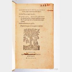 Dionysius of Halicarnassus (c. 60 BC-after 7 BC) Responsio ad Gn. Pompeii epistolam, in qua ille de reprehenso ab eo Plato stylo conque