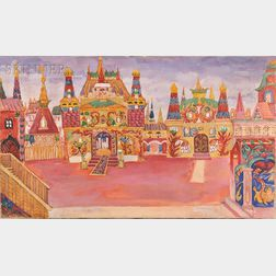 Natalia Sergeevna Goncharova (Russian, 1881-1962)      Set Design for Le Coq d'Or