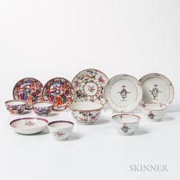 Six Export Porcelain Tea Bowls and Saucers
