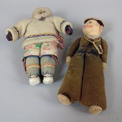 Felt Sailor Doll and a Carved Stone and Fabric Inuit Doll