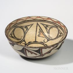 Large Zuni Polychrome Pottery Dough Bowl