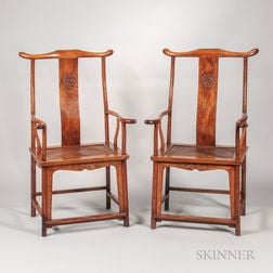 Pair of Huanghuali Yoke-back Armchairs
