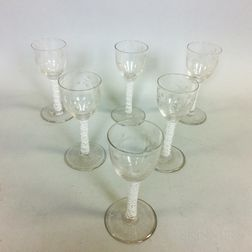 Set of Six Etched Colorless Blown Glass Wines