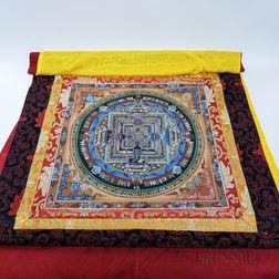 Kalachakra Silk and Gouache Thangka