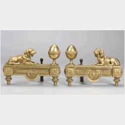 Pair of Louis XVI Gilt Bronze Spaniel Motif Andirons