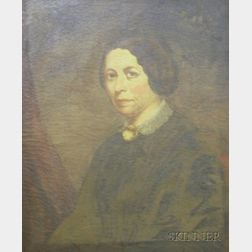 Framed Oil on Canvas Portrait of a Lady with Cameo