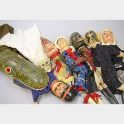 Set of Carved and Polychrome Painted Wood Punch and Judy Puppets
