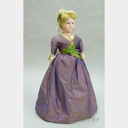 Waxed Papier-mache Lady Shoulder Head Doll with Elaborate Headdress