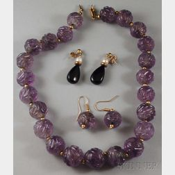 Carved Amethyst Bead Necklace and Earpendants