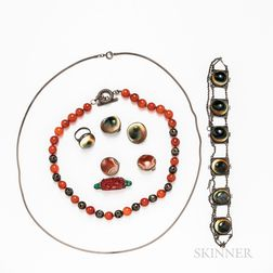 Group of Hardstone and Shell Jewelry