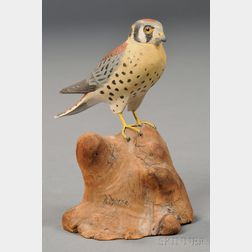 Miniature Carved and Painted Sparrow Hawk Figure