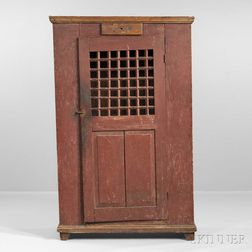 "Red-painted Pine ""Jail"" Cupboard"