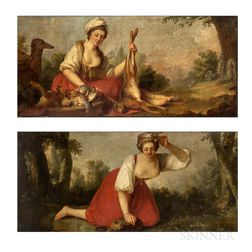 Continental School, 19th Century      Two Paintings of Women:  Pretty Country Maid with Hounds and Dead Game