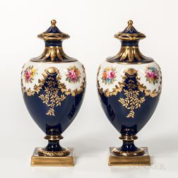 Pair of Wedgwood Bone China Vases and Covers