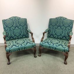 Pair of Georgian-style Upholstered Mahogany Library Open Armchairs