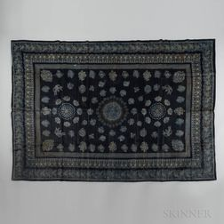 Large Blue Linen Printed Tablecloth