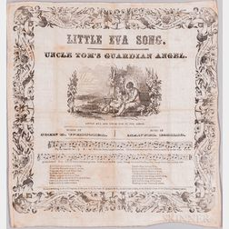 Stowe, Harriet Beecher (1811-1896) Uncle Tom's Cabin  , Printed Handkerchief, Little Eva Song.