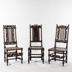 Three Carved High-back Side Chairs