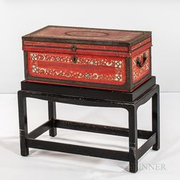 Polychrome and Red-painted Leather-covered Chinese Export Chest on Stand