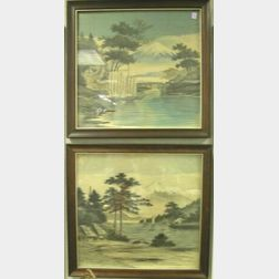 Two Framed Japanese Paintings on Silk.