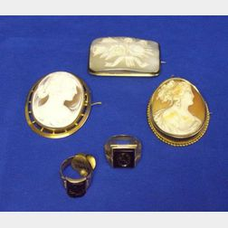 Three 9kt and 10kt Gold Framed Shell Carved Cameo Brooches