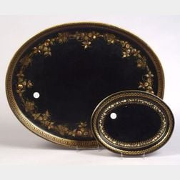 Two Black Tole Trays with Abalone Onlay