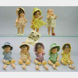 Madame Alexander Composition Dionne Quintuplet Babies