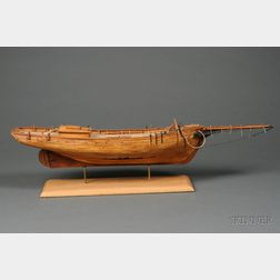 Scratch-built Wooden Ship Model of the Sloop-rigged Well Smack Emma C. Berry