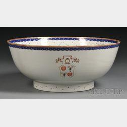 Chinese Export Porcelain Armorial/Masonic Porcelain Punch Bowl