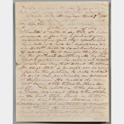 Crawford, William H. (b. about 1815) Autograph Letter Signed, 9 April 1846.