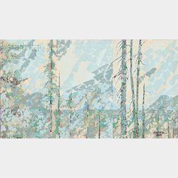 Ibarra Dela Rosa (Filipino, 1943-1998)      Abstract Trees and Hills