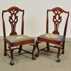Pair of Transitional Federal Carved Mahogany Side Chairs