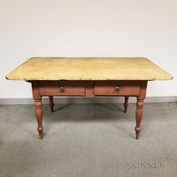 Country Red-painted Pine Two-drawer Tavern Table